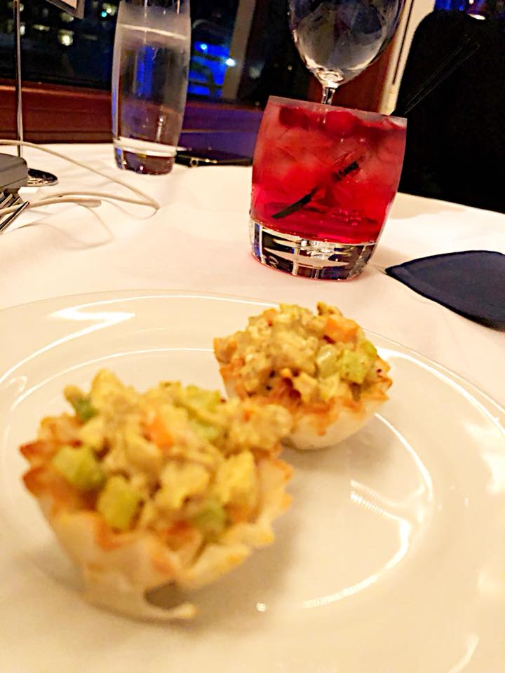savory curried chicken salad in phyllo cup