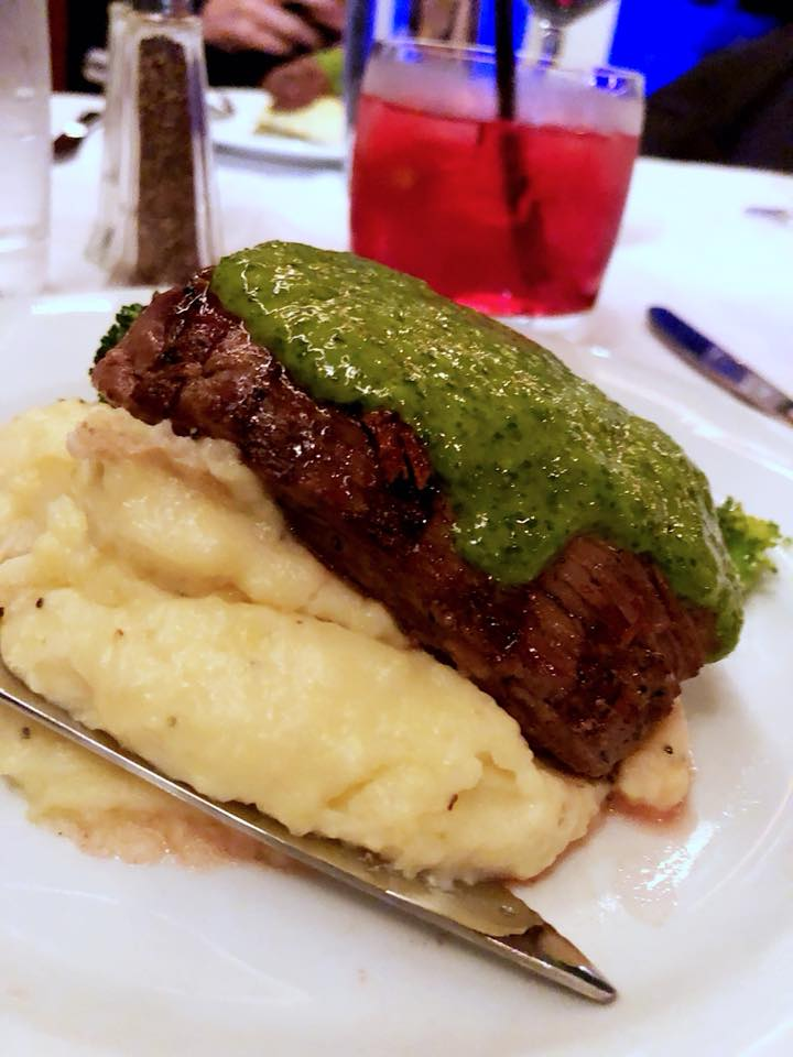seared sirloin tender w charmoula sauce -North African version of chimichuri